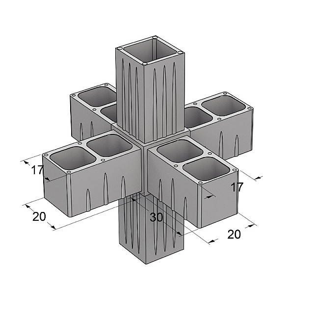 6 WAY CONNECTOR 20x20, GREY